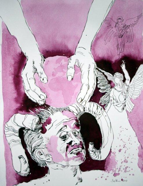 Die Engel haben die Seelen gemacht - 65 x 50 cm (c) Zeichnung von Susanne Haun