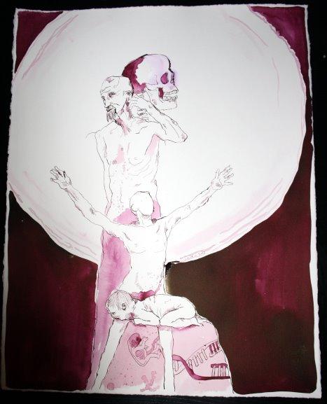 Ein Mensch - ein weiter Lichtkreis zittert hinter ihm - 65 x 50 cm (c) Zeichnung von Susanne Haun
